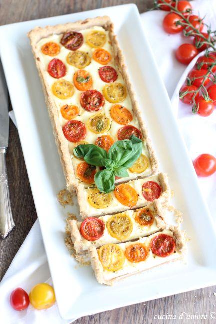 Crostata Crostata pomodorini; Frischkäse Kuchen mit Tomaten; Last minute Ostern Brunch Rezept; Tarte (1)