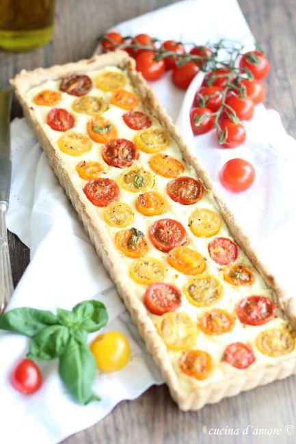 Crostata pomodorini; Frischkäse Kuchen mit Tomaten; Last minute Ostern Brunch Rezept; Tarte (1)Crostata pomodorini6